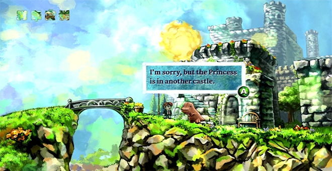 Figure 1: Screenshot from the Xbox 360 version of Braid (2008)