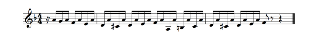Figure 4: The opening section of J. S. Bach's Fugue in D minor creates a sense of two-voice polyphony by contrasting a repeated pedal note against a melody line.