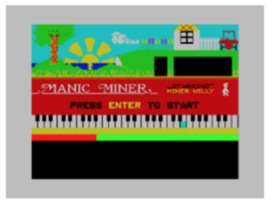 Figure 7: The title screen from Manic Miner. Note the short octave, C to E, just to the left of the middle C in the graphic, making it difficult to use a visual point of reference for transcribing the music.