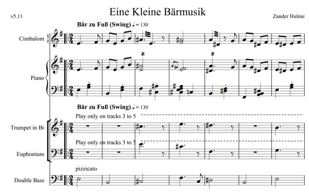 Figure 2: excerpt from adaptive score for Eine Kleine Bärmusik (Hulme, 2015)