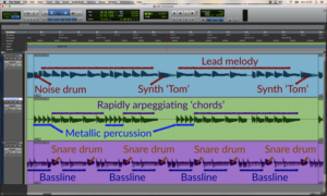 Figure 1: Multiplexing drums and percussion in Rob Hubbard's Commando